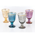 Set of 4 Multicolor Rocks Goblet Grape Design