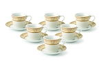 Lorren Home 2oz. Espresso Set Service for 6-Gold Floral