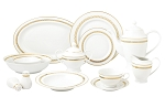 57 Piece Gold Dinnerware Set-New Bone China Service for 8 People