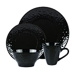 Lorren Home Trends 16 Piece Stoneware Scroll Dinnerware Set-Black