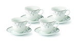 Tea/Coffe Set-Service for 4 Silver Floral Design