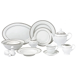 57 Piece Silver Border Porcelain Dinnerware Set-Service for 8-Ashley