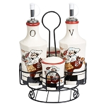 Chef Ceramic Condiment Set W/Rod Iron Stand