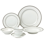 24 Piece Silver Porcelain Dinnerware Service for 4-Ashley