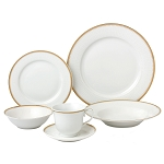 24 Piece Gold Porcelain Dinnerware Service for 4-Georgette