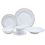Lorren Home Trends 24 Piece Wavy Fine China Silver Dot Dinnerware  (Service for 4)