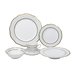 Lorren Home Trends 24 Piece Wavy Fine China Lattice/Gold Dinnerware  (Service for 4)