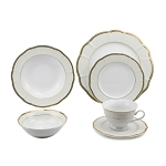 Lorren Home Trends 24 Piece Wavy Fine China Ivory/Gold Dinnerware (Service for 4)