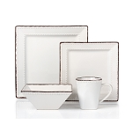 16 Piece Square Beaded Stoneware Dinnerware set by Lorren Home Trends, White
