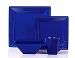 16 Piece Square Beaded Stoneware Dinnerware set by Lorren Home Trends, Blue
