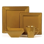 16 Piece Square Beaded Stoneware Dinnerware set by Lorren Home Trends, Mocca