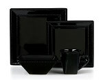 16 Piece Square Beaded Stoneware Dinnerware set by Lorren Home Trends, Black