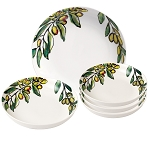 5 Piece Porcelain Pasta Set Olive Design