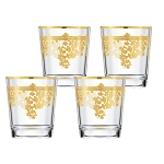 Set of 6 Embellished 24K Gold Crystal Double Old Fashion-Made In Italy