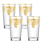 Set of 6 Embellished 24K Gold Crystal High Ball Tumbler-Made In Italy