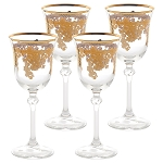 Set of 6 Embellished 24K Gold Crystal White Wine Goblets-Made In Italy