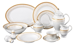 57 Piece Gold Border Dinner Set, Service for 8.  By Lorren Home Trends