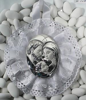 Silver Holy Family on White Satin and Organza Fabric