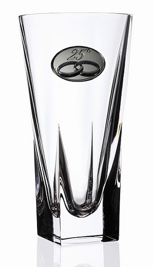 RCR Fusion Crystal Vase Small with 25th Anniversary