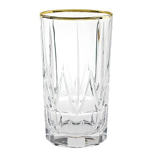Chic Set of 6 High Ball Tumblers with 24K Gold Trim By Lorren Home Trends