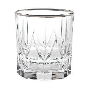 Chic Set of 6 Double Old Fashion Tumblers with Platinum Trim By Lorren Home Trends
