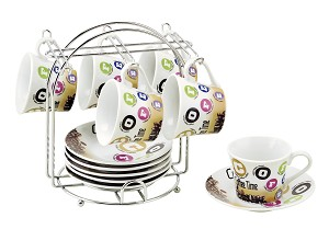 Set of 6 Espresso Cups On Metal Stand-Colorful