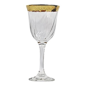 Set of 6 White Wine Goblets-Gold Band Venetian Design