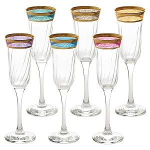 Flute Set of 6 Melania Collection Multicolor