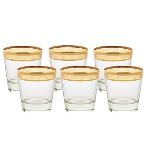 Double Old Fashion Set of 6 Melania Collection Amber
