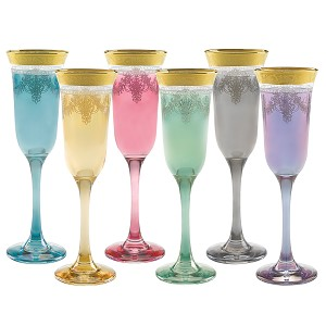 Muticolor Flutes Set of 6 with Gold Band