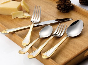 20 Piece 18/10 Flatware set, Service for Mirror and Gold finish-Lorena