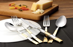 20 Piece 18/10 Flatware set, Service for Mirror and Gold finish-Amanda