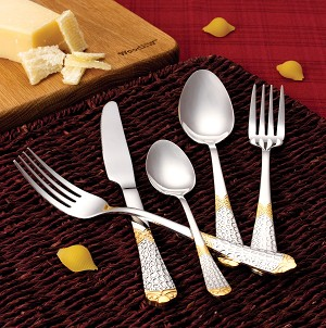 20 Piece 18/10 Flatware set, Service for Mirror and Gold finish