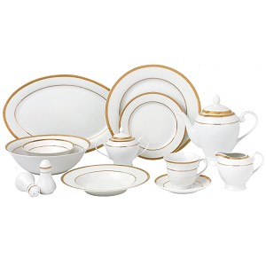 57 Piece Gold Border Porcelain Dinnerware Set-Service for 8-Josephine