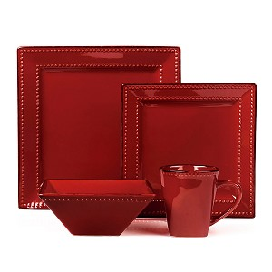 16 Piece Square Beaded Stoneware Dinnerware set by Lorren Home Trends, Red