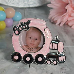 Pewter Pink Train Photo Frame