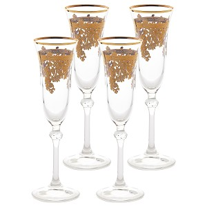 Set of 6 Embellished 24K Gold Crystal Flute Goblets-Made In Italy