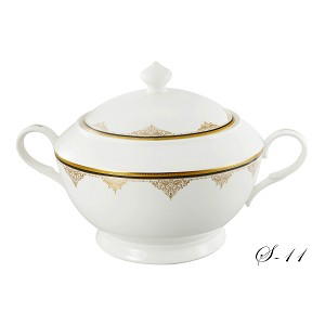 La Luna Collection Bone China Souptureen with Lid, Angela Pattern by Lorren Home Trends
