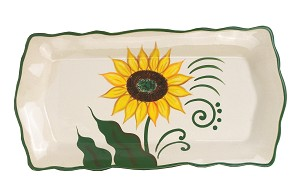 "Sunflower Design Rectangular 15"" Platter"