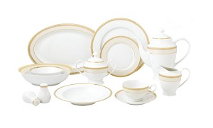 57 Piece Gold Mix and Match Dinnerware Set-New Bone China Service for 8 People