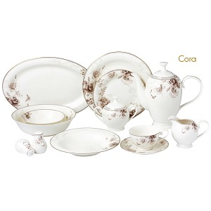 57 Piece Dinnerware Set-Bone China Service for 8 People-Cora