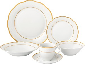 24 Piece Gold Wavy Dinnerware-Porcelain-Srvice for 4-Gloria