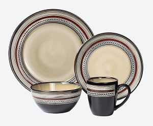 Lorren Home Trends 16 Piece Glazed Dinnerware Neutral and Red (Service for 4)