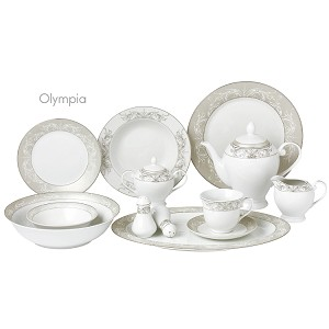 57 Piece Silver Border Porcelain Dinnerware Set-Service for 8-Olympia-Mix and Match