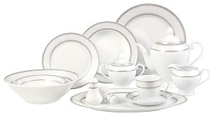 57 Piece Silver Border Dinner Set, Service for 8.  By Lorren Home Trends