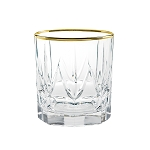 Chic Set of 6 Double Old Fashion Tumblers with 24K Gold Trim By Lorren Home Trends