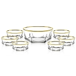 7 Piece Salad Set with Gold Trim