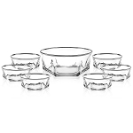 7 Piece Salad Set with Silver Trim