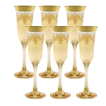 Amber Flutes Set of 6 with Gold Band