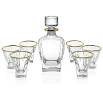 RCR Fusion-Gold Crystal 7 Piece Whiskey Set